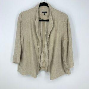 Eileen Fisher Silk Linen L/S Open Front Cardigan